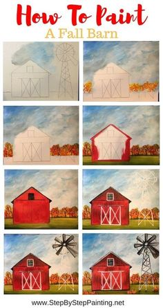 How To Paint A Fall Barn Learn how to paint a fall barn with this free online step by step acrylic painting tutorial. In this tutorial, you'll find a template for the barn and windmill that you can print and trace onto your canvas. Fall Canvas Painting, Cute Canvas Paintings, Canvas Painting Tutorials, Painting Lessons, Diy Painting, Art Lessons, Painting & Drawing, Barn Paintings, Painting Patterns