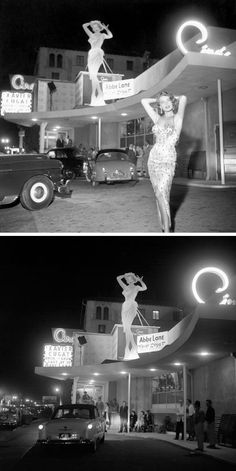 1954: Singer/actress Abbe Lane in front of Ciro's nightclub, Hollywood, where she was appearing with then-husband Xavier Cugat.