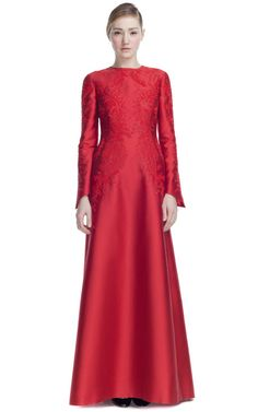 Embroidered Mikado Long Sleeve Gown