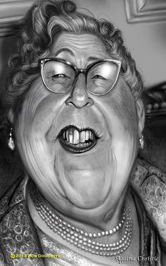 Caricatura de Agatha Christie.