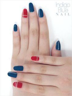 Indigo blue and red nails