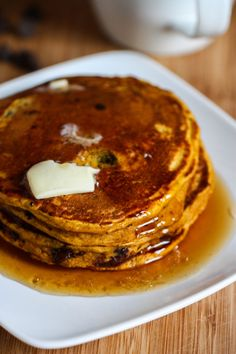 What are you making for brunch? These chocolate chip pumpkin pancakes smell amazing, and put a seasonal touch on a breakfast favorite.