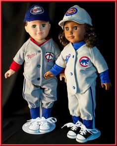 "Chicago Cubs Base Ball Uniforms - American Girl (Boy) Style & Size Doll Clothes, Outfit for American Girl or American Boy Style 18"" dolls!"