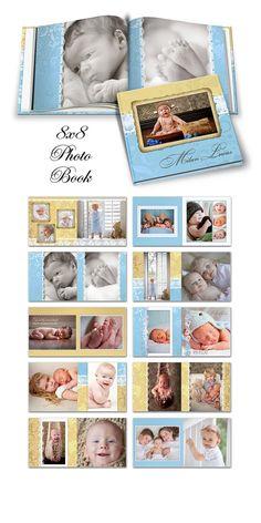 Photo Book - MILAN LUCAS -  Photoshop Templates for Photographers. 8X8 Square Photo Book - 20 Pages Plus Cover Design. $24.99, via Etsy.