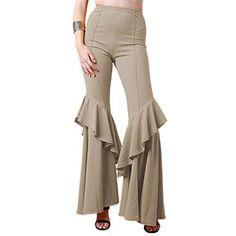 Honghu Women's High Waist Ruffle Flare Pant Wide Leg Pants Long Trousers Wide Leg Pants, Khaki Pants, Autumn Fashion Casual, Flare Pants, Fashion Brands, High Waist, Duster Coat, Topshop, Trousers