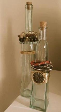 Awesome bracelet holder idea, small glass bottles