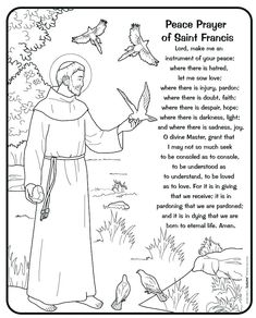 Francis Of assisi Coloring Page - 28 St. Francis Of assisi Coloring Page , Saint Francis Of assisi and the Birds Catholic Coloring Francis Of Assisi Quotes, St Francis Assisi, Saint Francis Prayer, Catholic Religious Education, Catholic Crafts, Catholic Kids, Religious Art, Earth Coloring Pages, People Coloring Pages