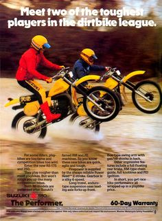 1980 Suzuki RS175 and 250 Advertisement.  TS-style motors in PE-style chassis for trail-only play bikes.
