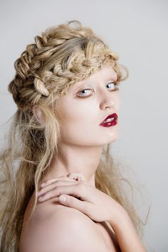 Braided hair style.  Braids.  Fairy tale hair.  Silver contacts.  Editorial hair.  High fashion hair.  Hair by Heather Chapman.