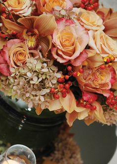 Orange and red fall wedding flowers