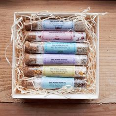 A simple yet beautiful gift box filled with all six of our Bath Salts glass vials. Perfect as a gift or just to try our varieties of Bath Salts. Glass Vials, Cata, Beautiful Gift Boxes, Bath Salts, Soap, Simple, Gift Sets, Gifts, Night