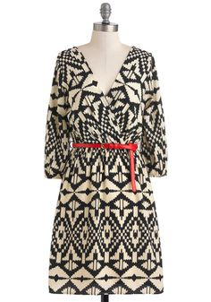 Well-Read All Over Dress - Print, Casual, Mid-length, Sheer, Tan / Cream, Black, Belted, A-line, Long Sleeve, Work