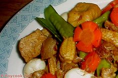 """Chop suey (simplified Chinese: 杂碎; traditional Chinese: 雜碎; pinyin: zá suì; literally """"assorted pieces"""") is a Chinese dish consisting of meat (often chicken, fish, beef, prawns, or pork) and eggs, cooked quickly with vegetables such as bean sprouts, cabbage, and celery and bound in a starch-thickened sauce."""
