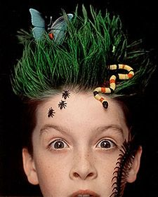"Clever Halloween getups for kids needn't be a chore, so don't pull your  hair out -- pull theirs up. Kids will go wild for these ""natural""  styles: Give strands a lift with radical waves (the surfing kind), twirl  tresses into a beehive (a real one -- almost), or shape another  high-'do."