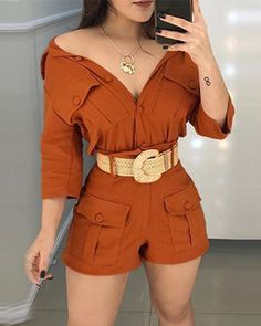 Pocket Design Long-sleeved Top & Shorts Set Source by ivrosegeeko Outfits shorts Summer Outfits, Casual Outfits, Cute Outfits, Fashion Outfits, Womens Fashion, Fashion Trends, Style Fashion, Diva Fashion, Fashion Ideas