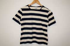 Top Nautical Blue White Striped Sailor Marine Short Sleeve Top Designer shirt Mika Pirainen Medium Size   Measurements (laying flat):  Bust (pit Marimekko, Good Old, Sailor, Nautical, Shirt Designs, Blue And White, Flat, Medium, Sleeves