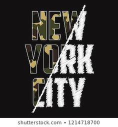 New York composite slogan t-shirt with camouflage texture. Brooklyn camo tee shirt typography with spliced embroidery print in military and army style. Camo Tee Shirts, Slogan Tshirt, T Shirt, Typographic Design, Typography, Lettering, Shirt Print Design, Tee Shirt Designs, Artwork Images