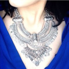Lovely Gypsy Necklace Gorgeous necklace! Big and beautiful! Silver toned zinc alloy! Great piece that will for sure turn heads! New in package.! Jewelry Necklaces