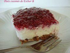 Les plats cuisinés de Esther B: Carrés au fromage et aux framboises