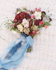 Berry + Pink Bouquet Tied In Blue Ribbons