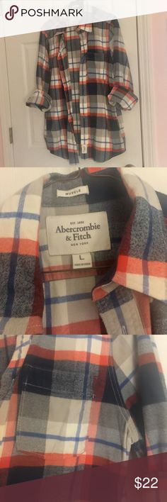 Abercrombie & Fitch A&F flannel blue red plaid A&F mens button down flannel shirt with red, white and blue plaid flannel design. Heavier material, features front pocket and muscle style fit. Unworn size large.  I have several mens listings - lmk if you're interested in bundling, happy to offer discounts if purchasing 2 or more mens items :) Abercrombie & Fitch Shirts Casual Button Down Shirts