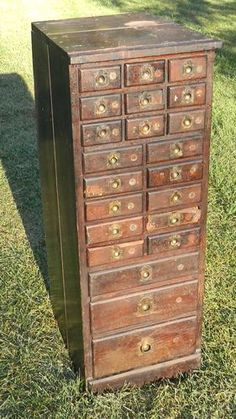 Lotb Antique Wood 22 Drawer Machinist Tool Chest Cabinet Box Apothecary Handmade