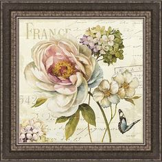 Create the look of a cozy and chic cottage in any home with help from this charming framed artwork. The floral design features crackling and flowing writing to create a unique piece. The piece is framed for immediate hanging when you receive it.