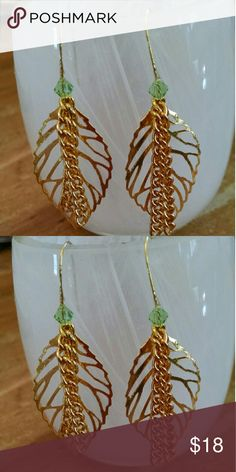 """30% off 2+!!!!Handmade One of a Kind Leaf Earrings Brand new handmade. No one else will have a pair like it! Beautiful gold leaves with golden chains. About 1.5"""" drops. Made to last forever. JennAKrause Collection  Jewelry Earrings"""