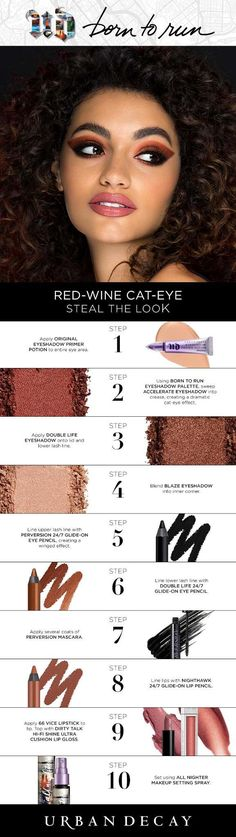 Wanna get this look? Get your hands on the full Born to Run collection now! Urban Decay Makeup, Maquillage Urban Decay, Urban Beauty, Beauty Make-up, Beauty Hacks, Hair Beauty, Makeup Goals, Love Makeup, Makeup Tips