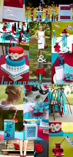 Photos by Mentz Photography, Flowers by Hand Pickd, Cake by Candle Ready Cakes, Jewelry by Stella & Dot w/Amanda James, and Hair and Make-up done by Opalus Salon (Amber & Allison)  http://www.bridemeetswedding.com/redandaqua.html