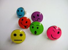 Colorful Stud Earrings FUN WOWFacial Expression by hookandline, $5.00