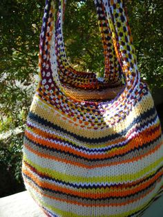 Hand knit in cotton yarn/  Perfect tote for summer.