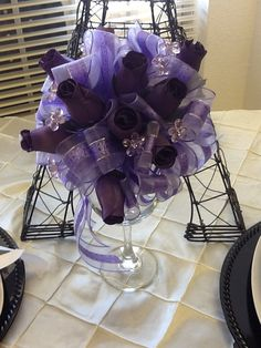 Purple Wedding throw bouquet with wooden roses by parisianbridal, $16.99