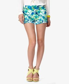 Essential Watercolor Shorts #shorts #turquoise #floral #waist #boho #summer