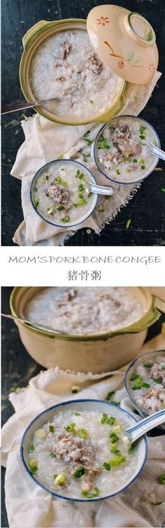 """Mom's Pork Bone Congee recipe by the Woks of Life, or zhū gǔ zhōu, or in Cantonese phonetics, """"gee gwut jook,"""" Asian Recipes, Gourmet Recipes, Cooking Recipes, Healthy Recipes, Chinese Recipes, Cooking Videos, Pork Recipes, Asian Soup, Woks"""
