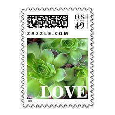 These #green #succulent #plant #love #postage #stamps brighten up any correspondence, but they're especially pretty when used to send #wedding, #bridal #shower, engagement #party, vow renewal, or anniversary #invitations, #announcements, save the dates, RSVPs, and thank you notes. Available in horizontal or vertical design format and fully customizable / personalizable (simply add your own names, dates, and/or phrase when ordering). #stamp #floral #foliage #postal #plants