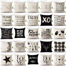 Letter Love Home Cushion covers Cotton linen Black White pillow cover Sofa bed Nordic decorative pillow case almofadas White Pillow Cases, Decorative Pillow Cases, White Pillows, Throw Pillow Cases, Pillow Covers, Sofa Throw Pillows, Diy Pillows, Linen Pillows, Sofa Bed