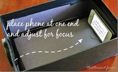 Turn a shoebox into a projector for your phone. Adjust focus my moving show box away from the wall or phone in the box.
