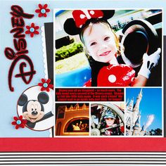 Design by Leslie Lightfoot Having trouble arranging multiple photos? Try a digital template to make it easy. Turn your title on its side to make room for a large treatment. Editor's Tip: Choose colors from your photos to help select papers and accents for your page.  SOURCES: Cardstock: Bazzill Basics Paper. Patterned paper: EK Success (Mickey Mouse), CherryArte (stripe). Font: Impact off the Internet. Stickers: EK Success. Brads: American Crafts. Punches: Stampin' Up!. Software: Adobe…