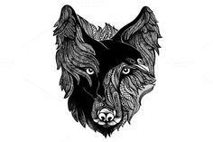 Wolf and Raven by apolinarias on @creativemarket
