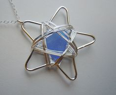 Seaglass Star Wire Wrapped Pendant. I do believe I shall make one. Would be cute as a topper for windchimes.
