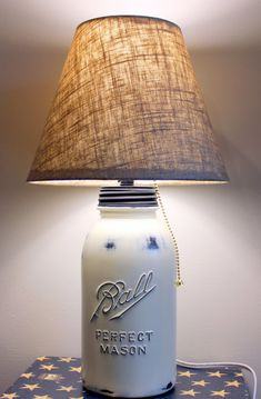 distressed mason jar lamp.