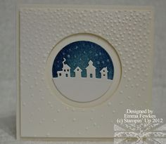 Sleigh Ride Edgelits, Sponges, Dazzling Diamonds, Gently Falling EF, Shimmery White cs, Circle punches or Circle Collection Framelits (by Emma F on SCS 11/10/2015)