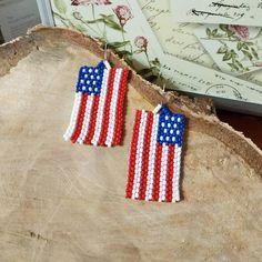 Blue Tassel Earrings, Seed Bead Earrings, Seed Beads, July 4th Holiday, Earring Trends, Silver Beads, American Flag, Handmade Jewelry