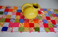 Quilted Patchwork Table Runner Retro by ForgetMeNotQuilteds, $35.00
