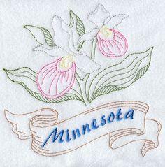 Minnesota - Showy Lady's Slipper (Redwork)