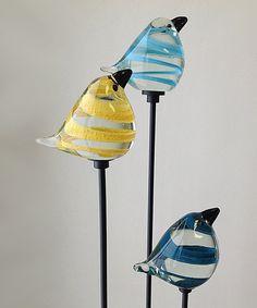 Another great find on #zulily! Striped Bird Garden Stakes - Set of Three #zulilyfinds