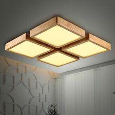 Goedkope Nieuwe Creatieve EIKEN Moderne Plafond Verlichting Voor Woonkamer Slaapkamer Lampara Techo Houten Led Plafondlamp Wedstrijden