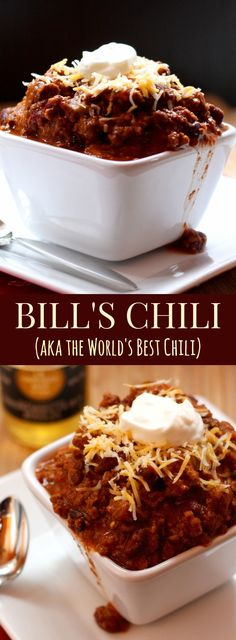 29 Best Slow Cooker Chili Recipes for Your Tailgate World's Best Chili, Best Chili Recipe Ever, Beef Chili Recipe, Chilli Recipes, Soup Recipes, Snack Recipes, Cooking Recipes, Chili Recipe Crockpot Best, Best Chilli Ever