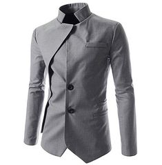 Unique Stand Up Collar Long Sleeve Button Front Patched Solid Slim Fitted Blazer Coat, Fashion Style Coats & Jackets Mens Fashion Suits, Mens Suits, High Fashion Men, Fashion Shirts, Womens Fashion, Terno Casual, Casual Suit, Mode Man, Designer Suits For Men